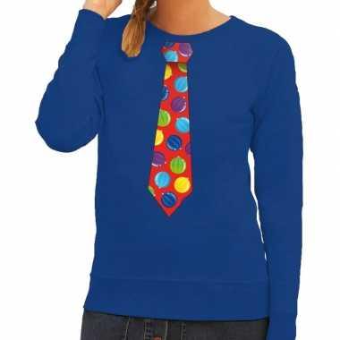Foute kerst sweater met kerstballen stropdas blauw voor dames