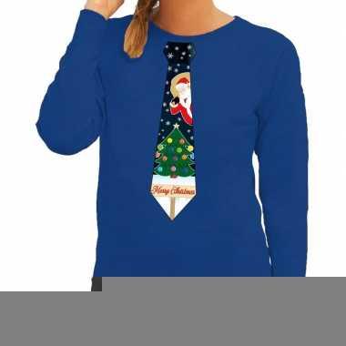 Foute kerst sweater met kerstmis stropdas blauw voor dames