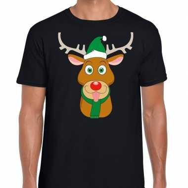 Foute kerst t-shirt zwart met ruldolf het rendier met groene muts voo