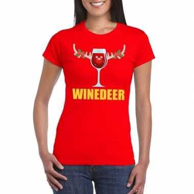 Foute kerstborrel t-shirt rood winedeer dames