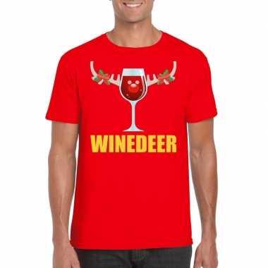 Foute kerstborrel t-shirt rood winedeer heren