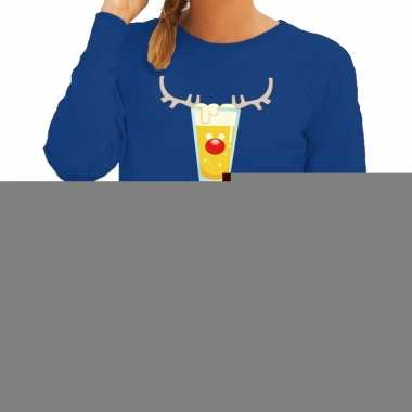 Foute kerstborrel trui blauw reinbeer dames
