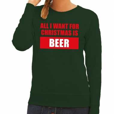 Foute kerstborrel trui groen all i want is beer dames