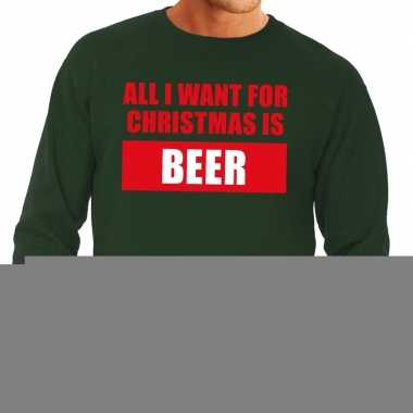 Foute kerstborrel trui groen all i want is beer heren