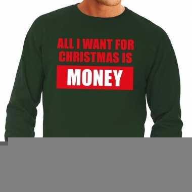 Foute kerstborrel trui groen all i want is money heren
