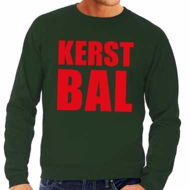 Foute kerstborrel trui groen kerstbal heren