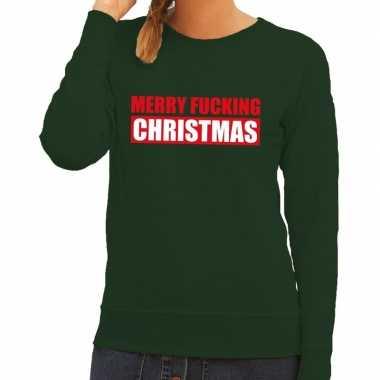 Foute kerstborrel trui groen merry fucking christmas dames
