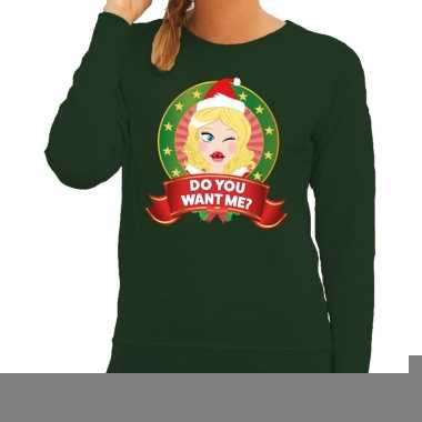 Foute kersttrui groen do you want me voor dames