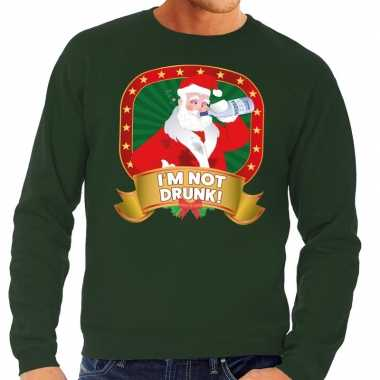 Foute kersttrui groen dronken kerstman met drankfles heren