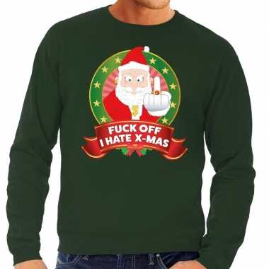 Foute kersttrui groen gangster kerstman met middelvinger heren