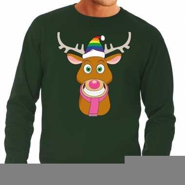 Foute kersttrui groen gay ruldolf regenboog muts en roze sjaal voor h