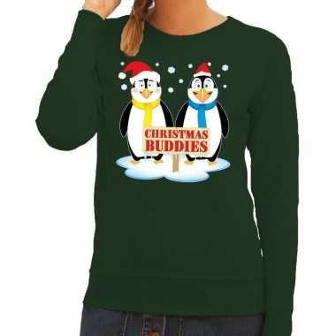 Foute kersttrui groen met 2 pinguins voor dames