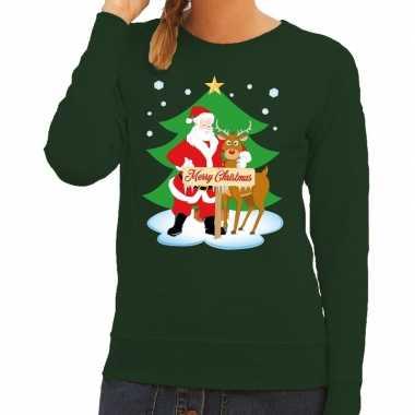 Foute kersttrui groen met de kerstman en rudolf voor dames