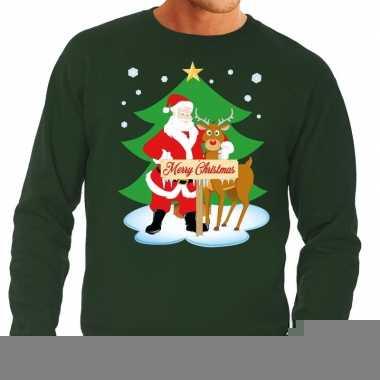 Foute kersttrui groen met de kerstman en rudolf voor heren