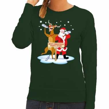 Foute kersttrui groen met een dronken kerstman en rudolf voor dames