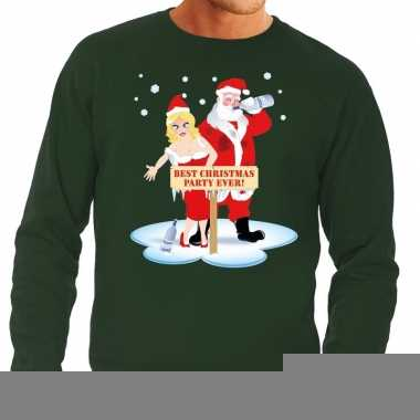 Foute kersttrui groen met een dronken kerstman en zijn vrouw voor her