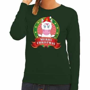 Foute kersttrui groen met unicorn voor dames