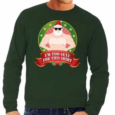 Foute kersttrui groen naakte kerstman met zonnebril heren