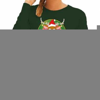 Foute kersttrui groen rudolf het rendier voor dames