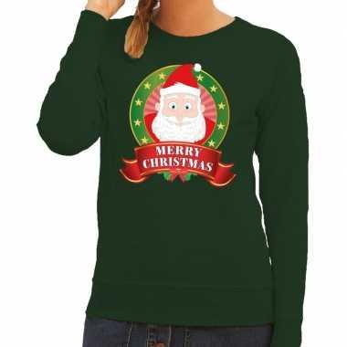 Foute kersttrui groen santa merry christmas voor dames