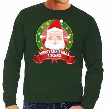 Foute kersttrui groen verliefde kerstman heren