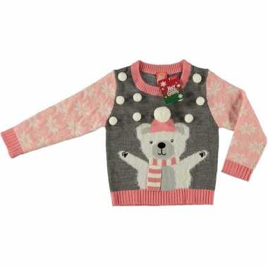 Foute kersttrui ijsbeer grijs voor kinderen