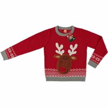 Foute kersttrui rendier rood voor kinderen