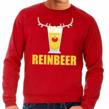 Foute kersttrui rood met biertje heren