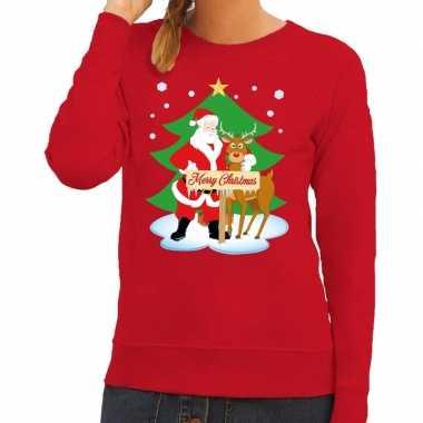 Foute kersttrui rood met de kerstman en rudolf voor dames