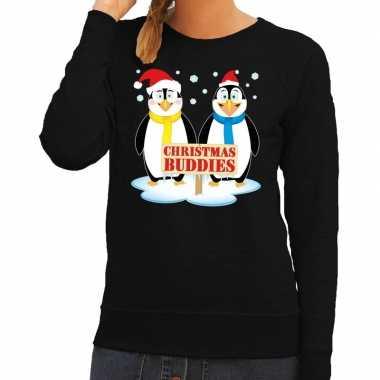 Foute kersttrui zwart met 2 pinguins voor dames