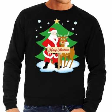 Foute kersttrui zwart met de kerstman en rudolf voor heren