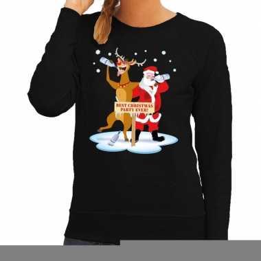 Foute kersttrui zwart met een dronken kerstman en rudolf voor dames