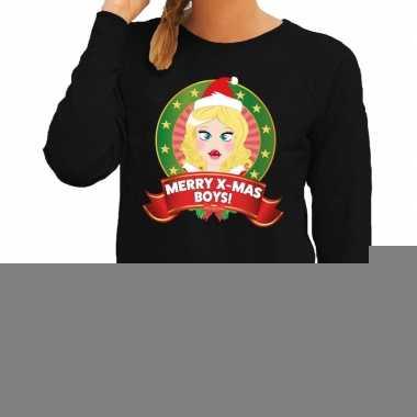 Foute kersttrui zwart met kerstvrouwtje voor dames