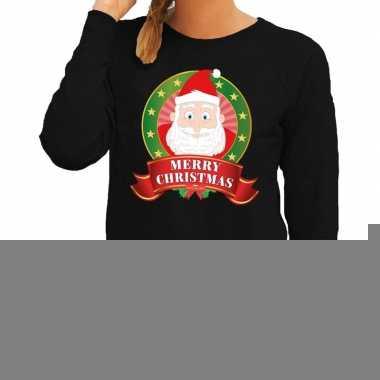 Foute kersttrui zwart santa merry christmas voor dames