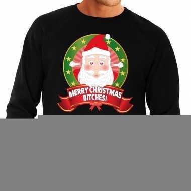 Foute kersttrui zwart verliefde kerstman heren