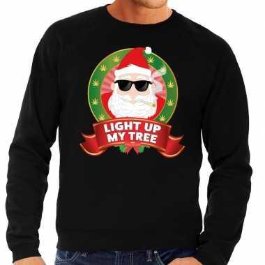 Foute kersttrui zwart wiet rokende kerstman light up my tree heren