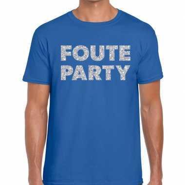 Foute party zilveren letters fun t-shirt blauw voor heren