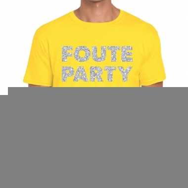 Foute party zilveren letters fun t-shirt geel voor heren