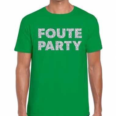 Foute party zilveren letters fun t-shirt groen voor heren