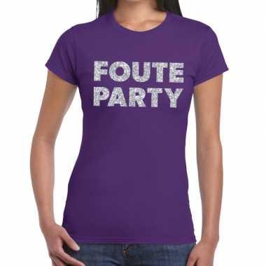 Foute party zilveren letters fun t-shirt paars voor dames