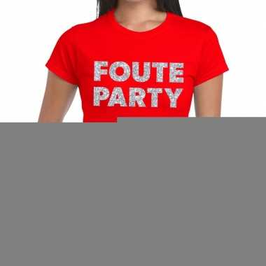 Foute party zilveren letters fun t-shirt rood voor dames