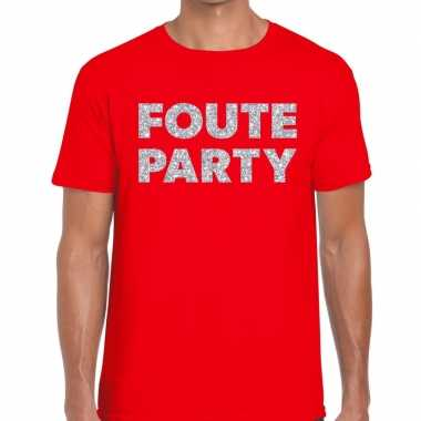 Foute party zilveren letters fun t-shirt rood voor heren