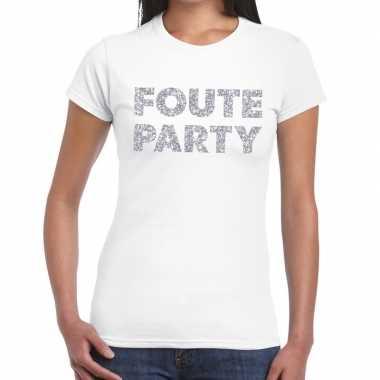 Foute party zilveren letters fun t-shirt wit voor dames