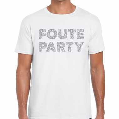 Foute party zilveren letters fun t-shirt wit voor heren
