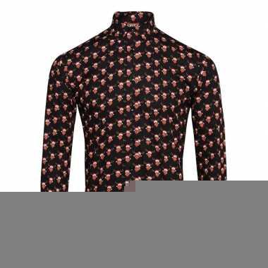 Foute rendier blouse met rendiermannetjes zwart