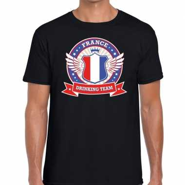 France drinking team t-shirt zwart heren