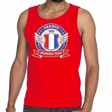 France drinking team tanktop / mouwloos shirt rood heren