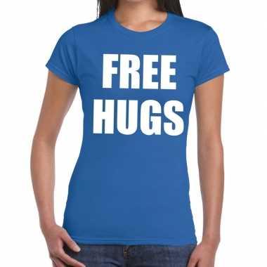 Free hugs fun t-shirt blauw voor dames