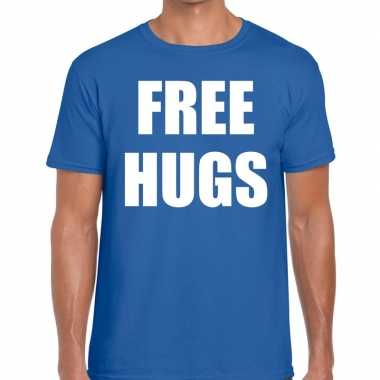Free hugs fun t-shirt blauw voor heren
