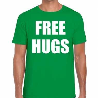 Free hugs fun t-shirt groen voor heren